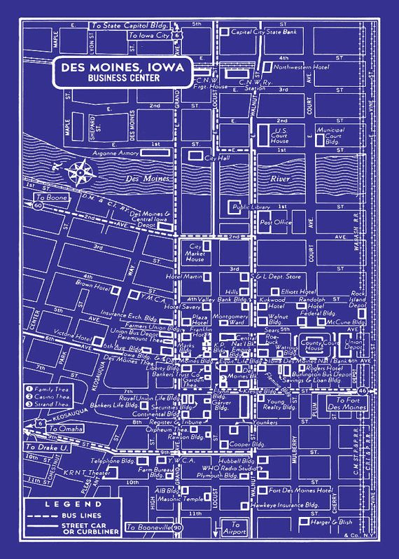 85 best old des moines images on pinterest heartland iowa and des des moines vintage map of downtown des moines blueprint map print poster malvernweather Images