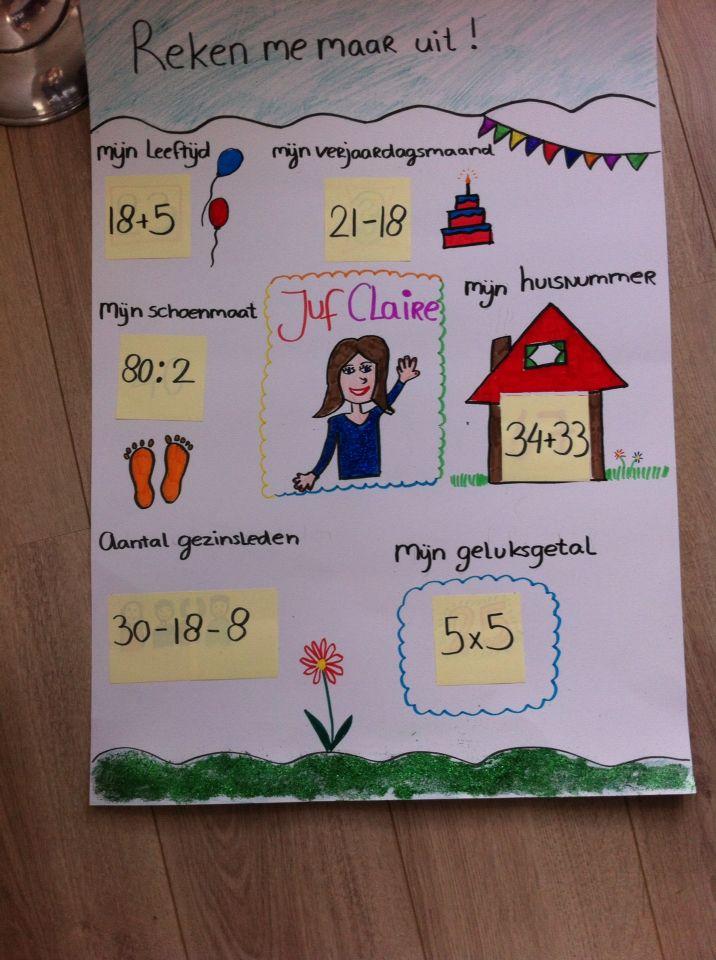 Leuke kennismakingsactiviteit. Leerlingen maken zelf ook een poster met zelfbedachte sommen. Daarna kunnen ze ruilen van posters en de sommen van klasgenoten oplossen.