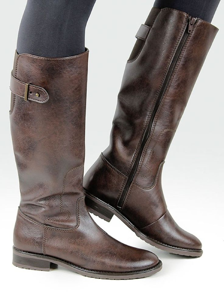 Vegan Vegetarian Non-Leather Womens Riding Boots Dark Brown