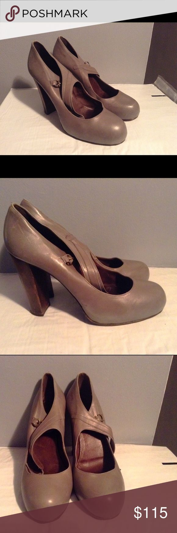 Joie Gray Mushroom Mary Jane Wooden Heel Shoes Shoes are discontinued and hard to find. In excellent condition. Does show minimal usual wear. Joie Shoes Platforms