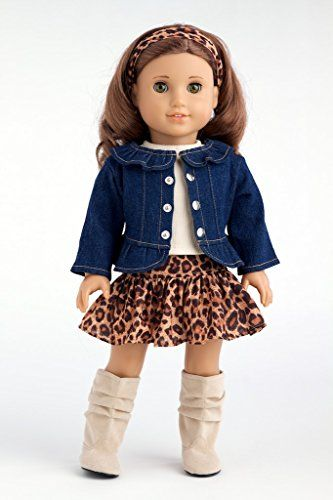 Adventure - 5 piece outfit - Jeans jacket, ivory tank top, skirt, scarf and boots - American Girl Doll Clothes