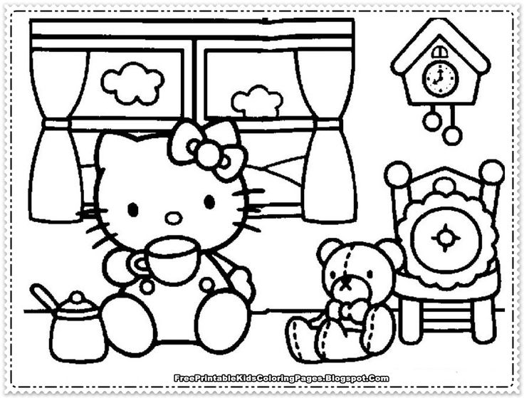 hello kitty coloring pages for girls free printable kids - Color Pages Girls Kitty