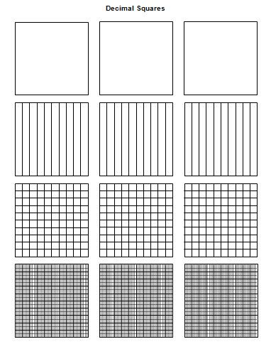 Decimals Squares that can be used to teach decimals and you can play games with these. Click on the decimal squares and you will go to a website with lots of great black line masters:)