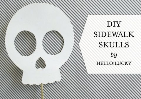 DIY Glow in the Dark Sidewalk Skulls for Halloween by Hello!Lucky