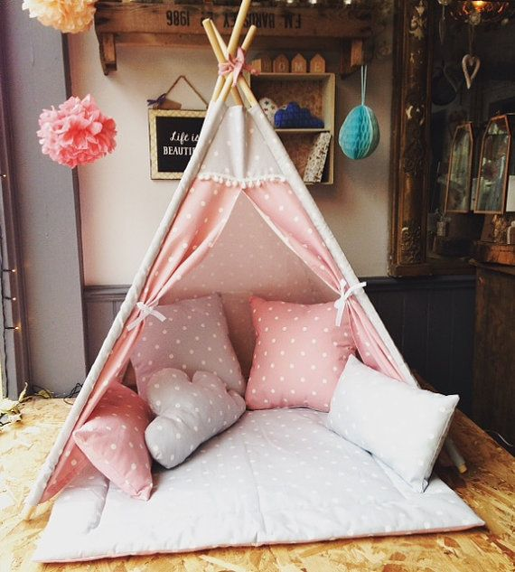 H a n d m a d e C h i l d r e n s T e e p e e...  The Mini childrens play teepee handmade in a range of Clarke & Clarke fabrics .. This teepee measures approx 80cm x 80cm and approx 100cm high ! these teepees make the perfect play accessory, reading den & cosy hideaway for babies, and small children and include a matching cushion for extra cuteness great for bedrooms, play areas & the garden ..  the simple design means they can fold up when not in use, they also completely dissemble to…