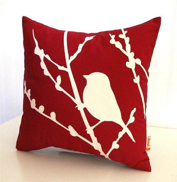 red bird on cherry blossom pillow
