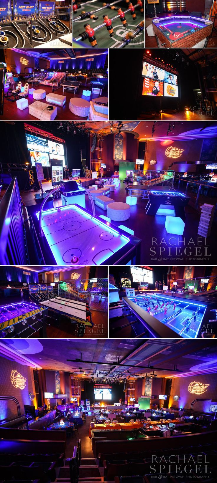March Madness Basketball Theme | Gaming area with huge video wall, seating and over a dozen activities produced vy Innovative Party Planners | www.innovativepartyplanners.com  |  Photos by Rachael Spiegel Photography Blog – Maryland Bar and Bat Mitzvah Photographer | Decor & Details – Jonah's Bar Mitzvah – Bethesda, Md.