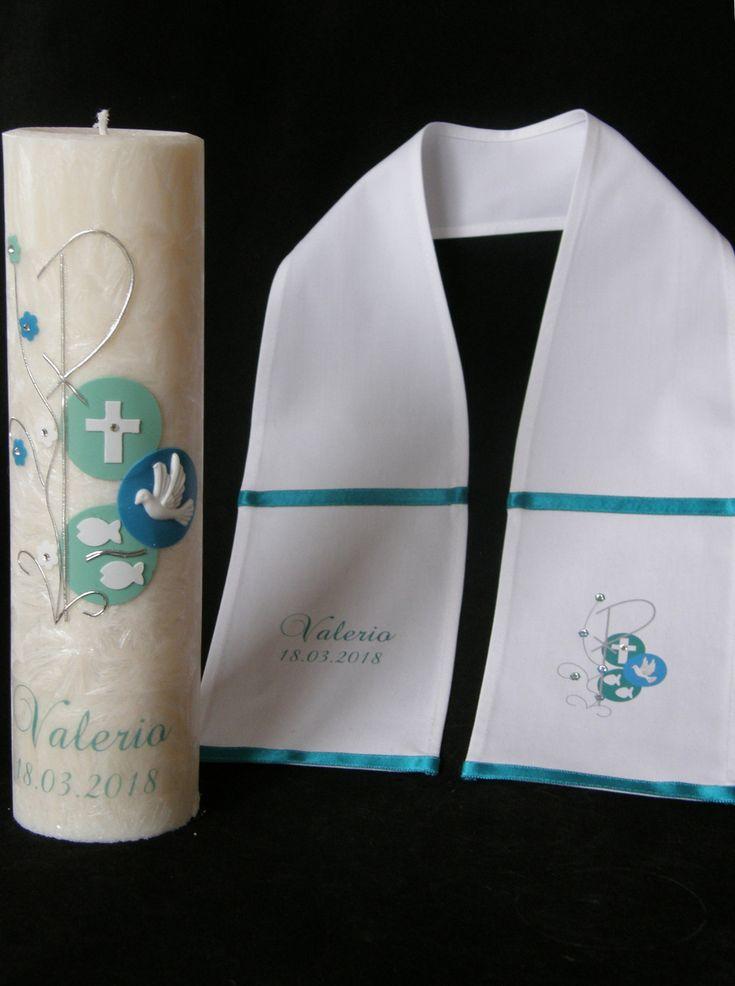 Taufkleidung - SET Taufschal + Taufkerze mit PAX - ein Designerstück von Candelita123 bei DaWanda