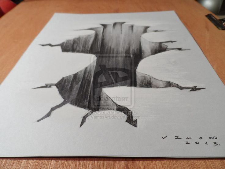 Drawing 3d hole high resolution by for Cool wall art drawings