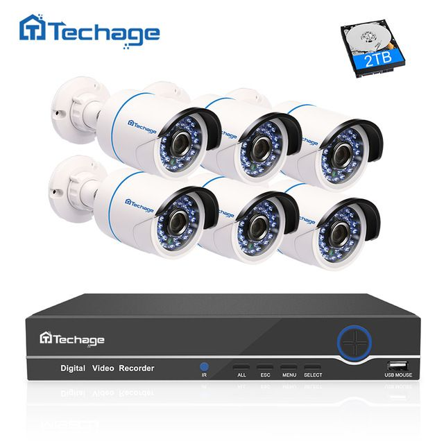 Techage 1080p Hd Cctv Camera System 8ch Poe Nvr 2mp Indoor Outdoor 6pcs Security I Wireless Home Security Systems Surveillance System Security Cameras For Home