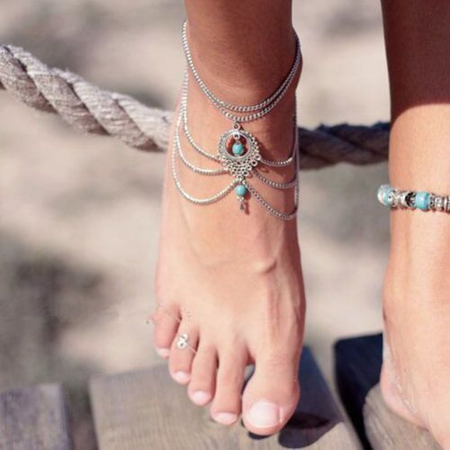 **PRE-ORDER** Bohemian Faux Turquoise Silver Chain Anklet Beach Bracelet