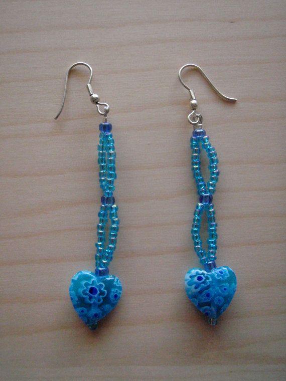Blue heart earrings by RosemarysJewellery on Etsy