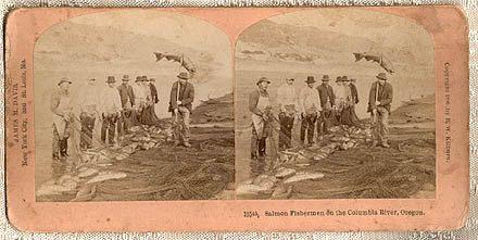 OREGON Salmon Fishermen 1896 American Outdoor Life STEREOSCOPE