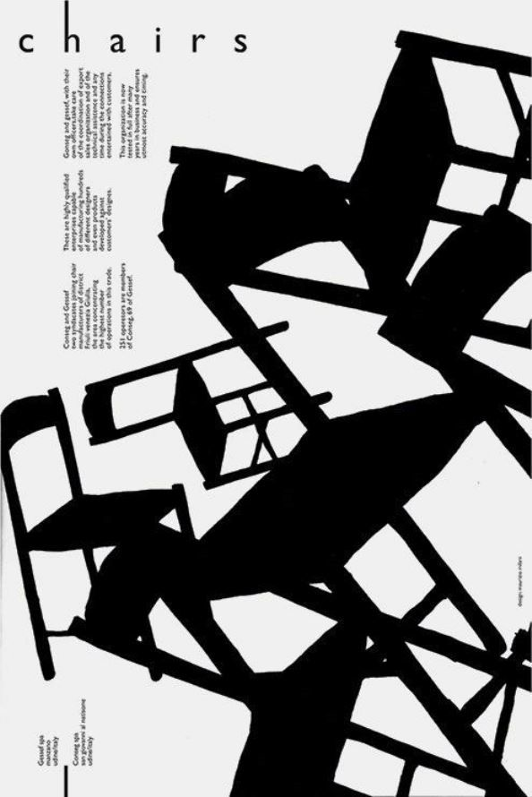 maurizio milani chairs. Conseg Gessef, 1976, poster
