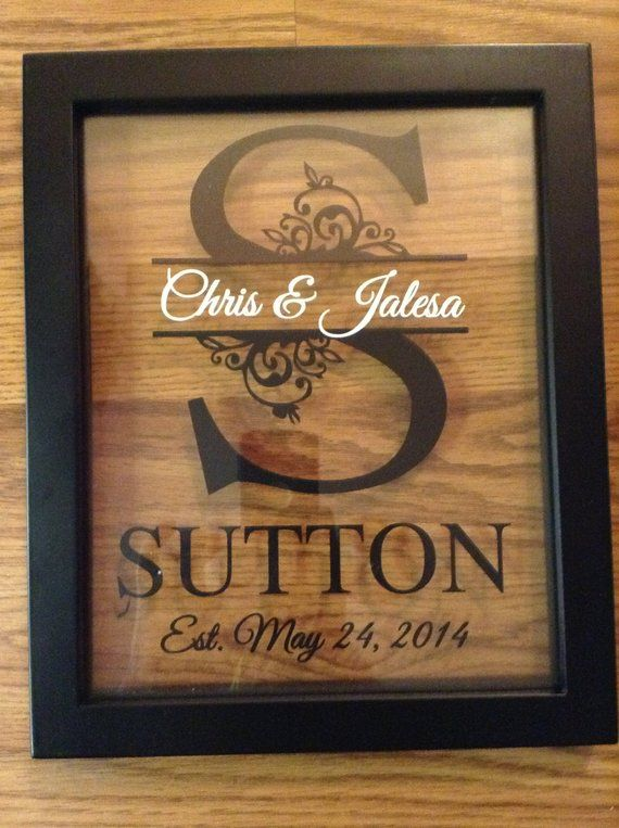 Personalized Floating Frame Split Letter, Wedding Gift, Anniversary Gift, Rustic wedding, Couples Gift, Wall Decor, Picture Frame 8×10
