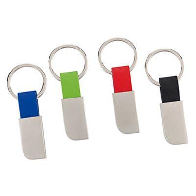 LLAVERO SILVER REF:LAG-318   Llavero Metálico y Poliuretano. Tipo de Producto: IMPORTADO. Medidas: 6.5 cm largo x 2 cm ancho (No Incluye Herraje). Área de Marca: 2 cm x 1 cm.  Técnica de Marca: Láser / Yag. Colores Disponibles: Azul, Negro, Rojo y Verde.
