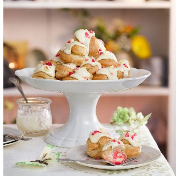 Rhubarb and custard profiterole tower