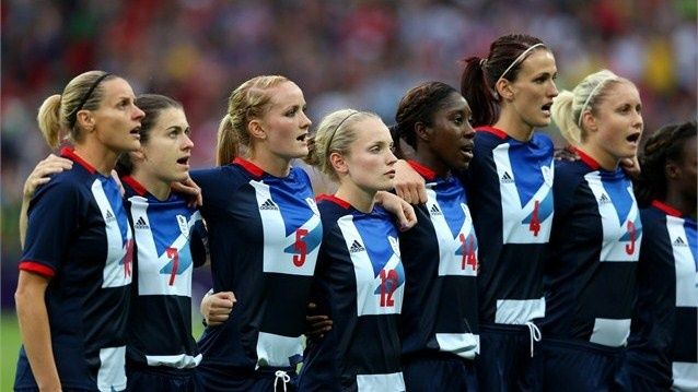 Team GB players sing the national anthem before their women's Football first round match against Brazil on Day 4 at Wembley Stadium. Great Britain went on to win the match 1-0.