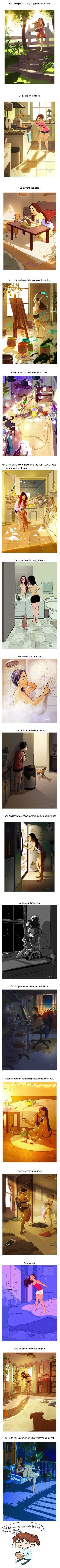 18 Heart-Warming Cartoons Showing The Happiness Of Living Alone