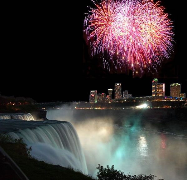 Niagra Falls.  I actually had a hotel room on the Canadian side that was just about eye level with the fireworks.  It was fabulous!