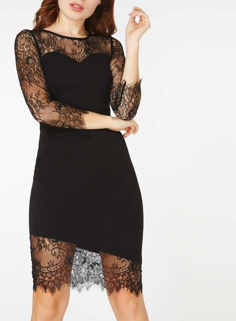 Black Asymmetric Hem Dress