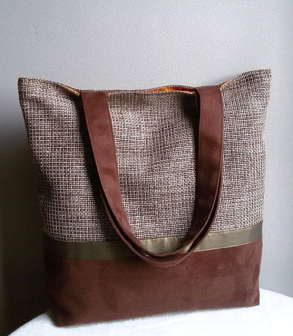 Brown and gold accent large shoulder bag  brown bag by IrisBags