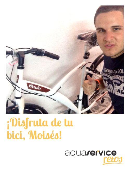 ¡Gracias, Moisés! El ganador de la bici de nuestros #retosaquaservice nos ha enviado esta simpática foto.
