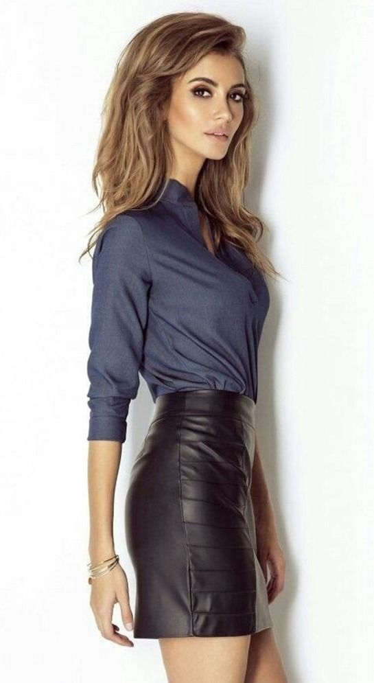 5c7965dcdbc9 🖤💙 Sexy leather 💯 | Fashion fwd in 2019 | Leather dresses, Black leather  skirts, Tight skirt outfit