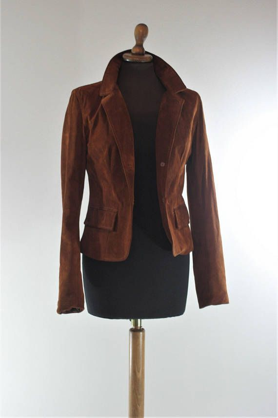 6d4e7d277d439 Vintage Italian 70s Terracotta Fitted Suede jacket small size Vintage Brown  Leather Snap Button Up Coat Blazer Made in Italy  Leather jacket  suede  leather ...