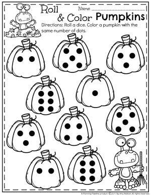 Roll and Color Pumpkins Worksheet for Preschool or Kindergarten.