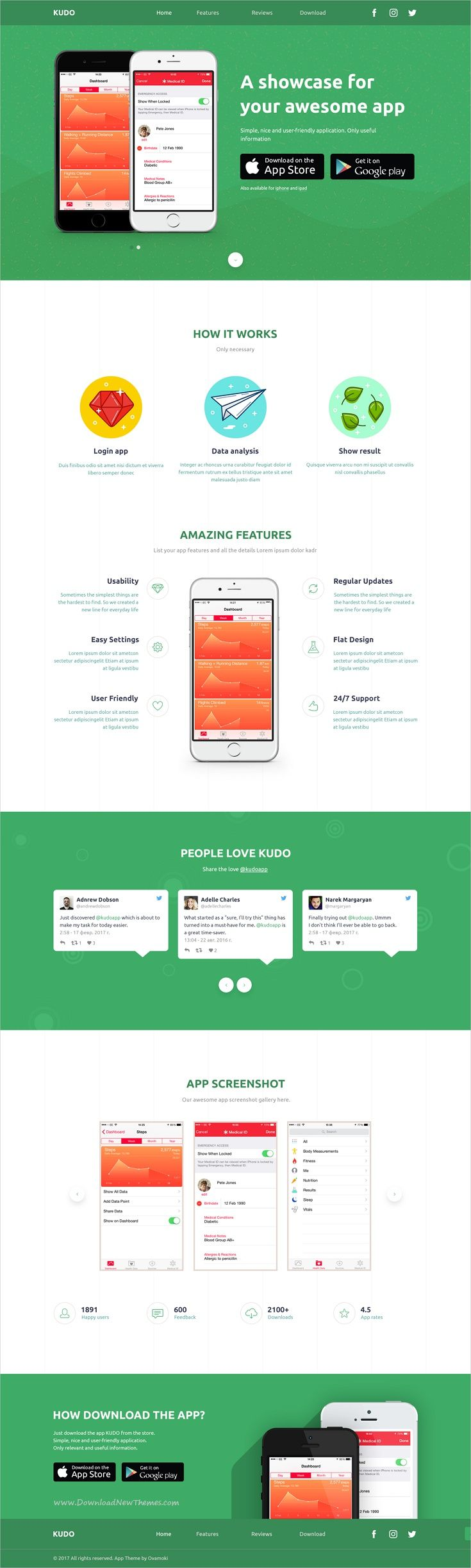 Kudo is clean and modern design #PSD template for onepage #app landing page website download now➩ https://themeforest.net/item/kudo-app-landing-page/19852691?ref=Datasata