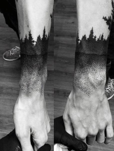 Men's Wrist Pine Tree Tattoo Design Inspiration