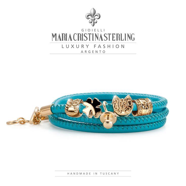 "MARIA CRISTINA STERLING GIOIELLI MODA MADE IN ITALY BRACCIALI ""LUCKYOU BABY"" ARGENTO BAGNATO ORO E  PELLE ROSA €89 http://shop.mariacristinasterling.it/"