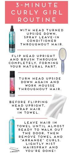 three-minute curly hair routine--for lessthan $10! Good to know if I ever go back to curls!