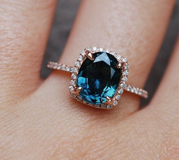 Blue Green sapphire engagement ring. Peacock sapphire 3.26ct cushion halo diamond ring 14k Rose gold.