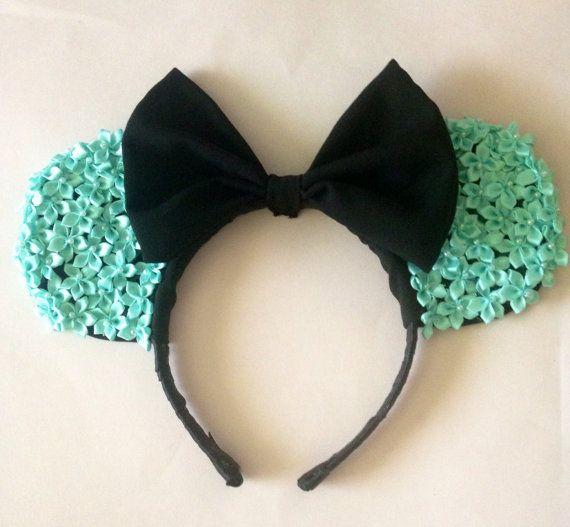 Tiffany Blue Colored Flower Minnie Ears Roses Disney Handmade Headband with Black Bow on Etsy, $15.00