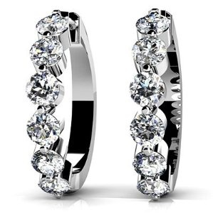 Anjolee  14k White & Yellow Gold, Essential Diamond Hoop Earrings, 0.46 ct. (Color: HI, Clarity: SI2)  Price: $458.98