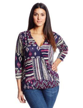 Lucky Brand Women's Plus-Size Patchwork Print Top