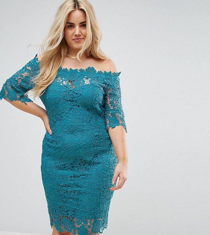 Paper Dolls Plus Off Shoulder Crochet Dress With Frill Sleeve - Green