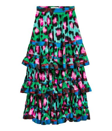 Green/pink. KENZO x H&M. Multi-tiered, pleated maxi skirt in chiffon with a leopard print and stitched bands of fabric. Concealed zip and fastener at side.