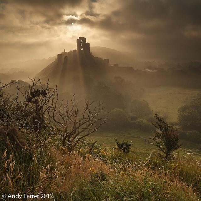 Summer Mist at Corfe Castle, Dorset, UK by Andy Farrer, via Flickr