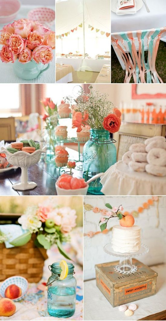 teal and peach wedding | Love peach and teal | Wedding-Perfect spring wedding colors except with Tiffany Blue. The colors
