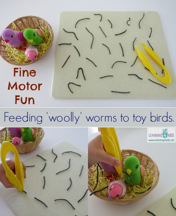 Fine motor activity for kids - pretend feeding 'woolly' (yarn) worms to toy birds.