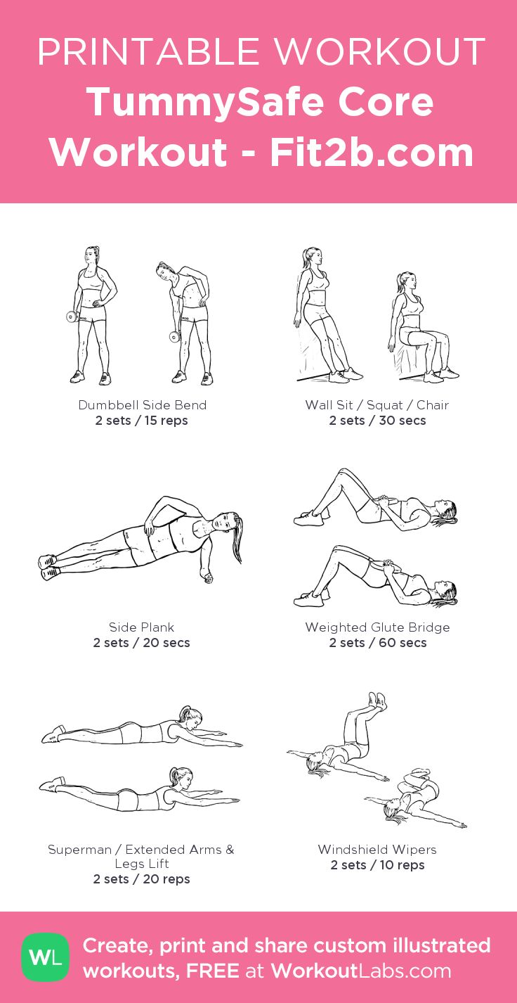 TummySafe Core Workout - More @ Fit2b.com Each of these moves takes stress out of the core and allows for proper breathing: Exhale as you engage the core; inhale as you relax it.