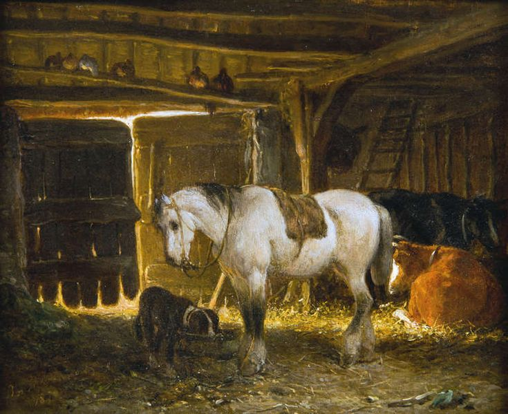Stable Interior by Moerenhout, Joseph  | From a unique collection of animal paintings at https://www.1stdibs.com/art/paintings/animal-paintings/
