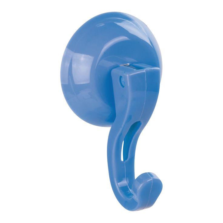 Set of 2 Bathroom Shower Power Lock Plastic Suction Hooks Royal Blue - InterDesign