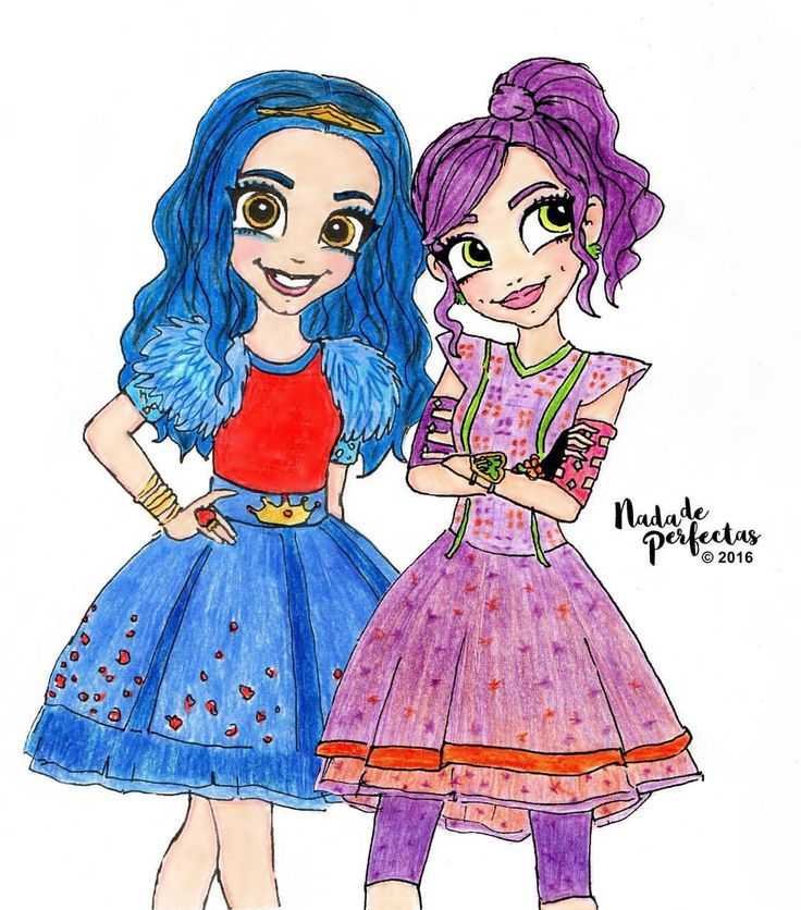 Best friends in good and bad times, as Mal and Evie! Mejores amigas en las buenas y en las malas, como Mal y Evie! #descendants #drawings #nadadeperfectas #malandevie #evieandmal...