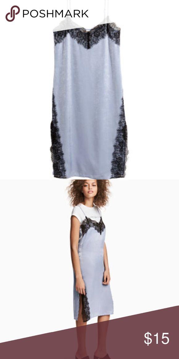 "lace coachella dress light blue with black lace ""coachella dress"" from h&m never worn size 4 tag still on H&M Dresses Midi"