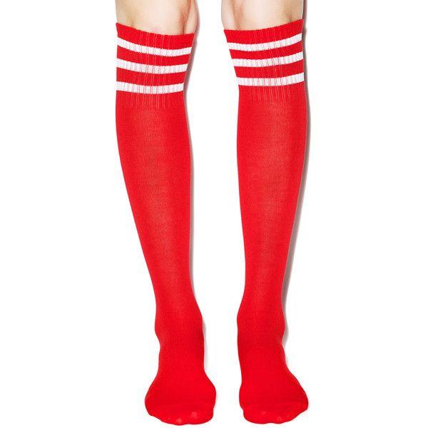 Varsity Valentine Knee High Socks ($10) ❤ liked on Polyvore featuring intimates, hosiery, socks, tights, striped socks, red knee high socks, pink knee socks, red socks and red striped socks