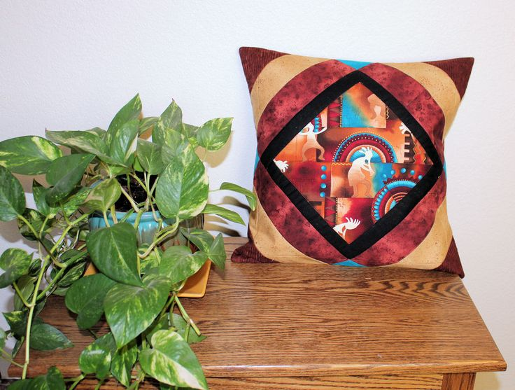 TWO Southwest Kokopelli Throw Pillows - Quilted Patchwork Decorator Pillows - 18